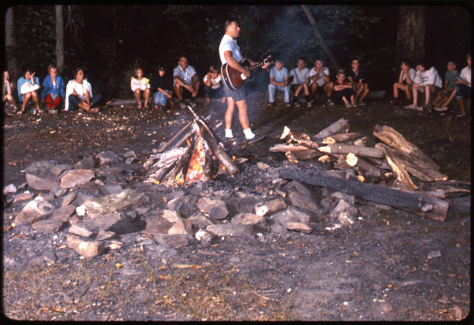 Campfire and guitar, Happy Valley Camp (Port Deposit, Md.), 1966. From Slides B141.