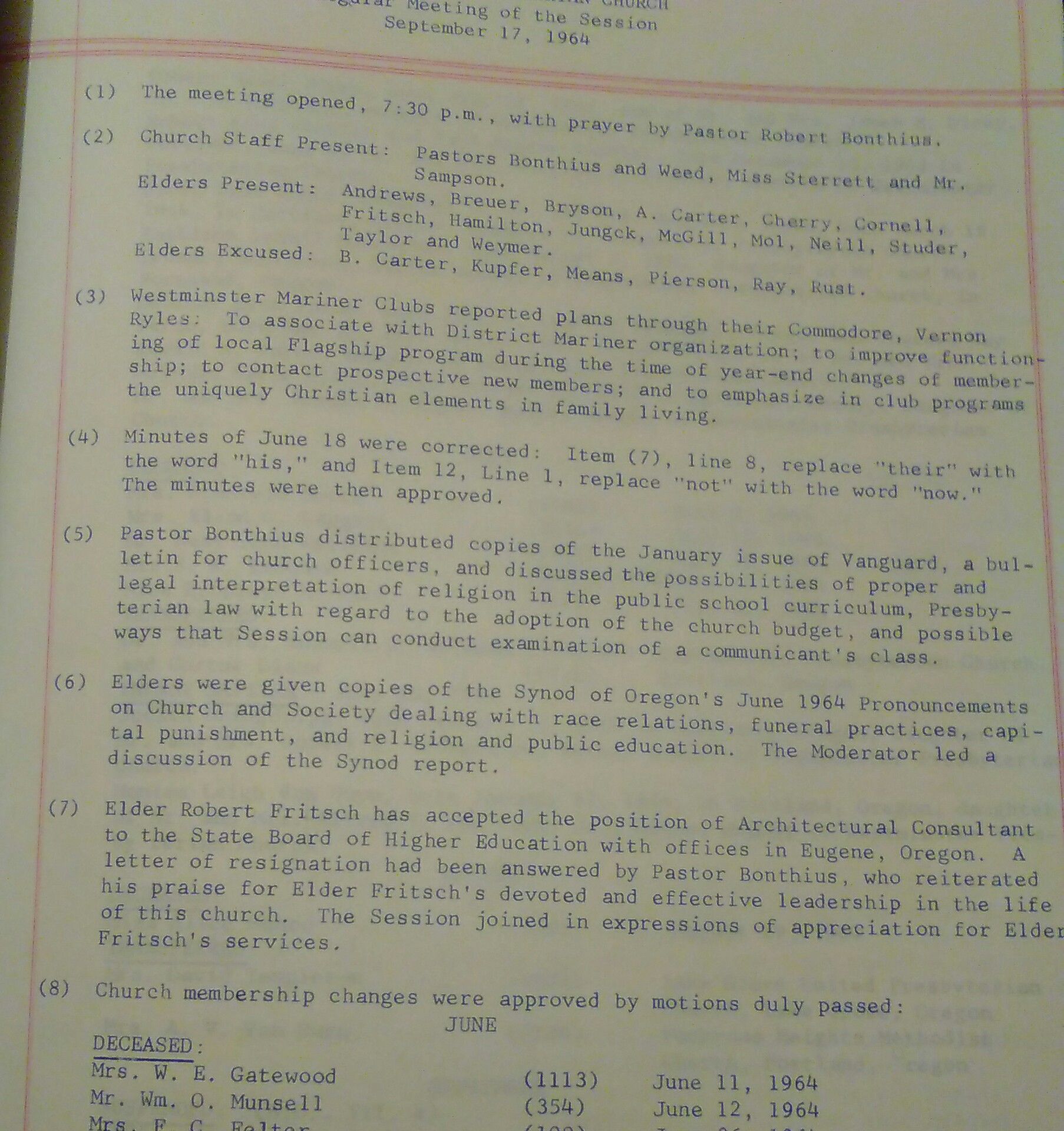 Session minutes 17 September 1964 Albina and
