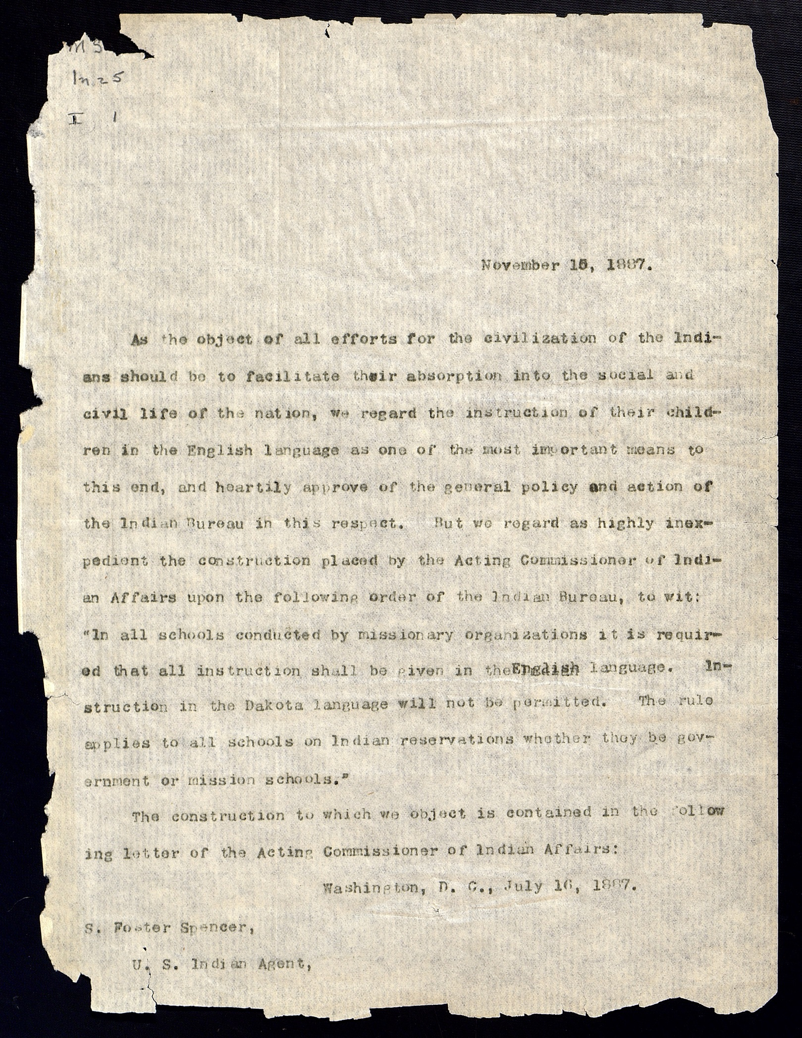 A Letter from the American Indian Correspondence